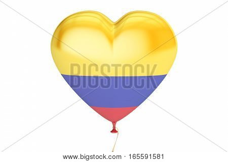 balloon with Colombia flag in the shape of heart 3D rendering