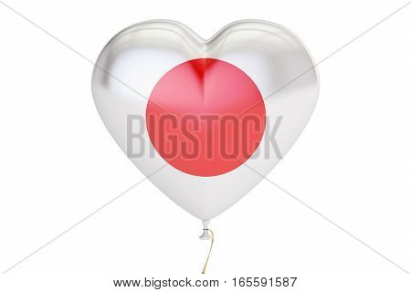 balloon with Japan flag in the shape of heart 3D rendering
