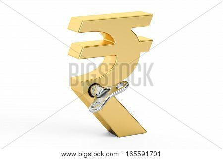Golden Rupee symbol with wind-up key 3D rendering