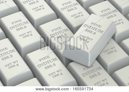 Indium ingots background 3D rendering isolated on white background