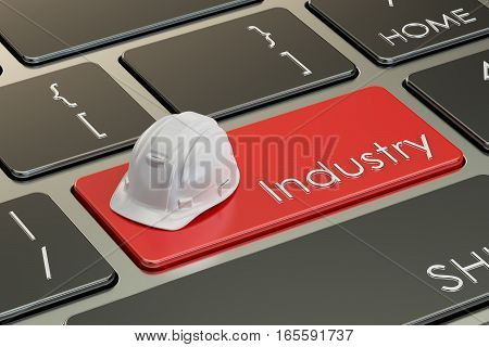 Industry concept on keyboard button 3D rendering