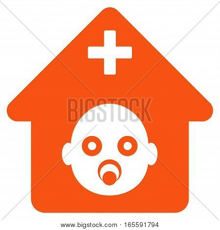 Prenatal Hospital vector icon. Flat orange symbol. Pictogram is isolated on a white background. Designed for web and software interfaces.
