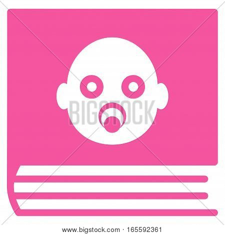 Baby Album vector icon. Flat pink symbol. Pictogram is isolated on a white background. Designed for web and software interfaces.