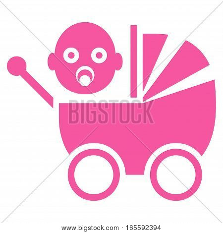 Baby Carriage vector icon. Flat pink symbol. Pictogram is isolated on a white background. Designed for web and software interfaces.