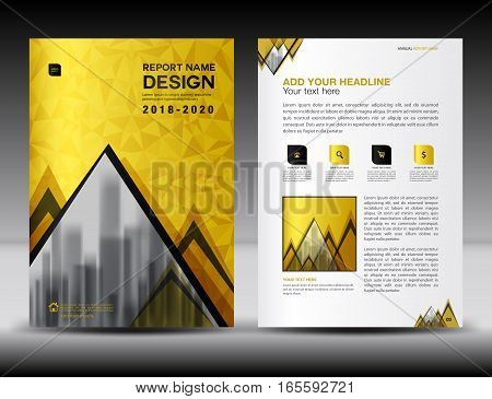 Business brochure flyer template in A4 size, Gold Cover design, Annual report, magazine ads, catalog, advertisement vector