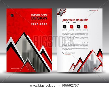 Business brochure flyer template in A4 size, Red Cover design, Annual report, magazine ads, catalog, advertisement vector