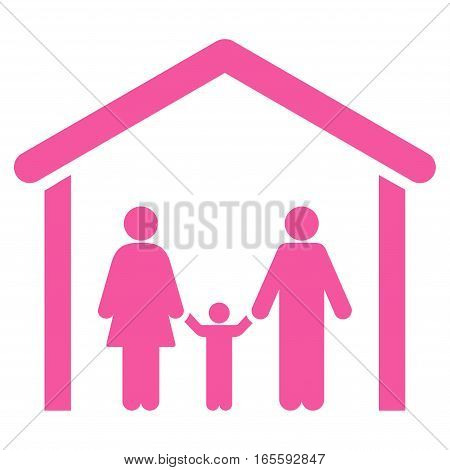 Family Cabin vector icon. Flat pink symbol. Pictogram is isolated on a white background. Designed for web and software interfaces.