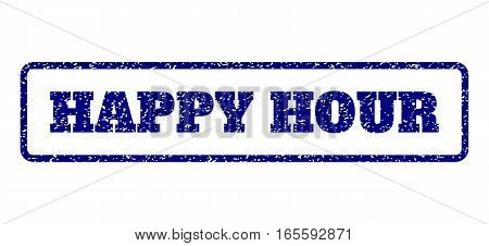 Navy Blue rubber seal stamp with Happy Hour text. Vector caption inside rounded rectangular shape. Grunge design and dirty texture for watermark labels. Horisontal emblem on a white background.