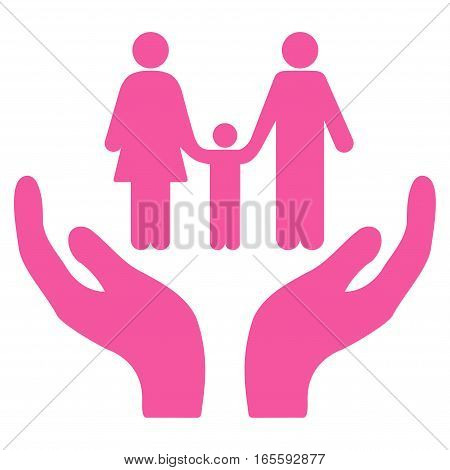 Family Care Hands vector icon. Flat pink symbol. Pictogram is isolated on a white background. Designed for web and software interfaces.