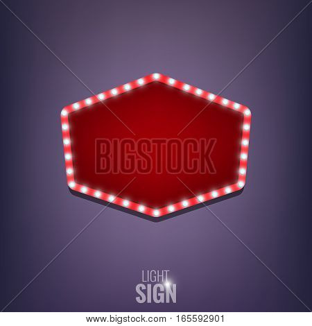 Sign with light bulbs. Shiny sign banner. Light sign with lamps.