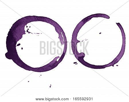 purple cup stain isolated on white paper background