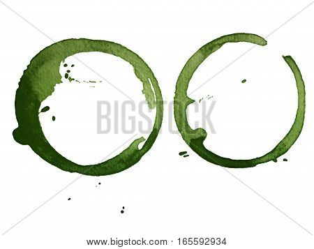 green cup stain isolated on white paper background