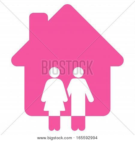 Family House vector icon. Flat pink symbol. Pictogram is isolated on a white background. Designed for web and software interfaces.