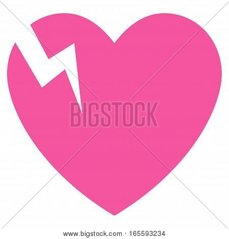 Heart Crack vector icon. Flat pink symbol. Pictogram is isolated on a white background. Designed for web and software interfaces.