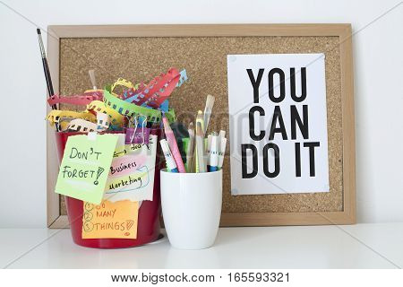 Motivation concept motivational quote note in office