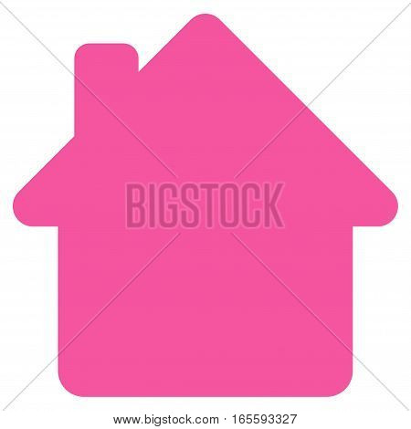 House vector icon. Flat pink symbol. Pictogram is isolated on a white background. Designed for web and software interfaces.