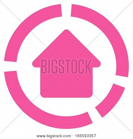 House Diagram vector icon. Flat pink symbol. Pictogram is isolated on a white background. Designed for web and software interfaces.