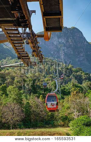 Langkawi, Malaysia - February 16, 2016: Cable Car to the top of Langkawi island, Malaysia. Langkawi SkyCab is one of the major attractions in the island