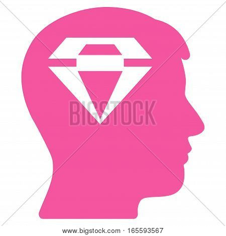 Human Head With Diamond vector icon. Flat pink symbol. Pictogram is isolated on a white background. Designed for web and software interfaces.