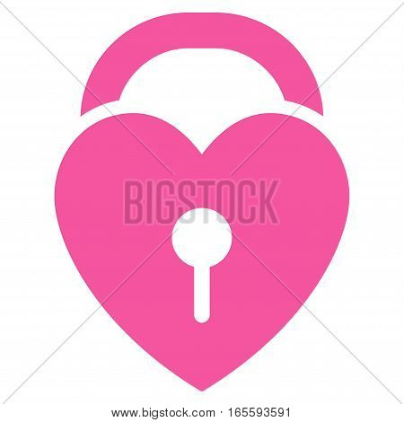 Love Heart Lock vector icon. Flat pink symbol. Pictogram is isolated on a white background. Designed for web and software interfaces.