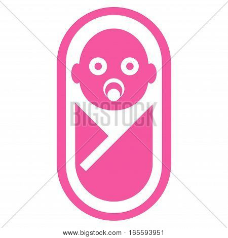 Newborn vector icon. Flat pink symbol. Pictogram is isolated on a white background. Designed for web and software interfaces.
