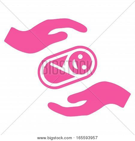 Newborn Care Hands vector icon. Flat pink symbol. Pictogram is isolated on a white background. Designed for web and software interfaces.