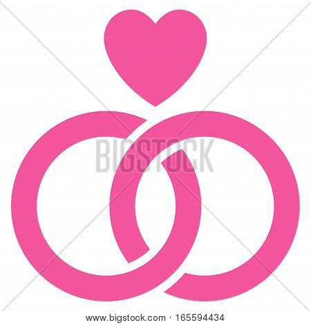 Wedding Rings With Heart vector icon. Flat pink symbol. Pictogram is isolated on a white background. Designed for web and software interfaces.