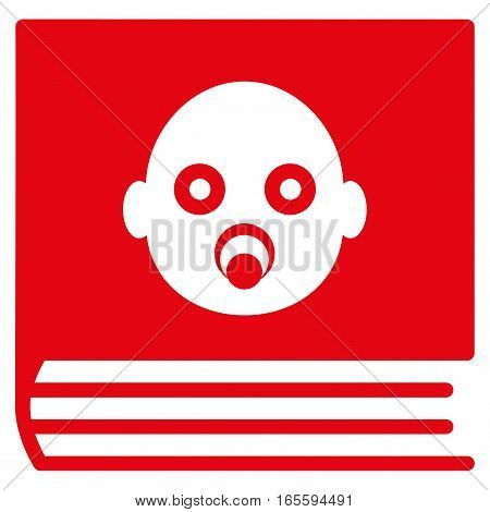Baby Album vector icon. Flat red symbol. Pictogram is isolated on a white background. Designed for web and software interfaces.