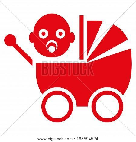 Baby Carriage vector icon. Flat red symbol. Pictogram is isolated on a white background. Designed for web and software interfaces.