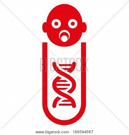 Baby Genetic Analysis vector icon. Flat red symbol. Pictogram is isolated on a white background. Designed for web and software interfaces.
