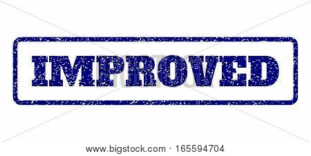 Navy Blue rubber seal stamp with Improved text. Vector message inside rounded rectangular banner. Grunge design and unclean texture for watermark labels. Horisontal sign on a white background.
