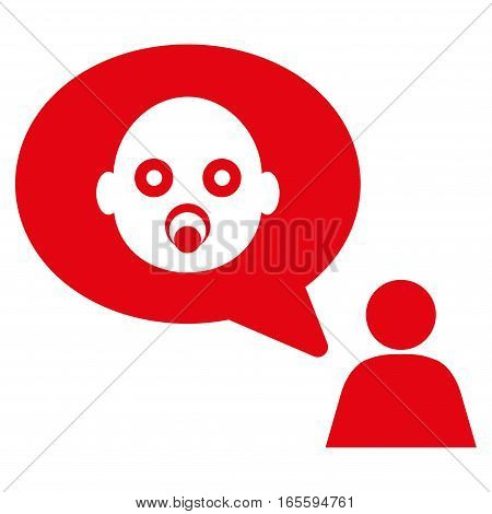 Baby Thinking Person vector icon. Flat red symbol. Pictogram is isolated on a white background. Designed for web and software interfaces.
