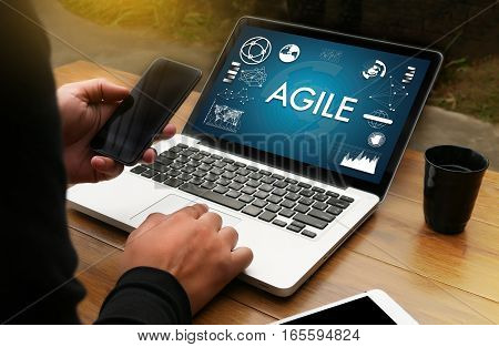 Agile Agility Nimble Quick Fast Concept Businessman Working Use Smartphone On Blurred Abstract Backg