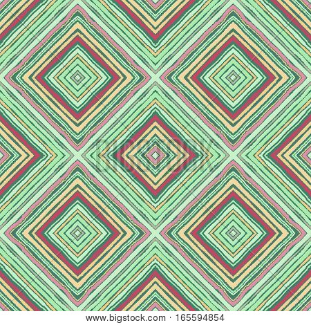 Striped diagonal rectangle seamless pattern. Square rhombus lines with torn paper effect. Ethnic background. Green, yellow, red colors. Vector