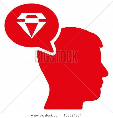Diamond Thinking vector icon. Flat red symbol. Pictogram is isolated on a white background. Designed for web and software interfaces.