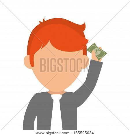 person with bill money isolated icon vector illustration design