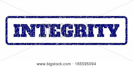 Navy Blue rubber seal stamp with Integrity text. Vector tag inside rounded rectangular frame. Grunge design and dust texture for watermark labels. Horisontal emblem on a white background.