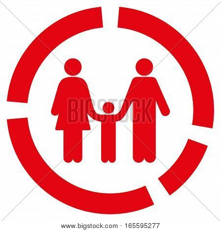 Family Diagram vector icon. Flat red symbol. Pictogram is isolated on a white background. Designed for web and software interfaces.