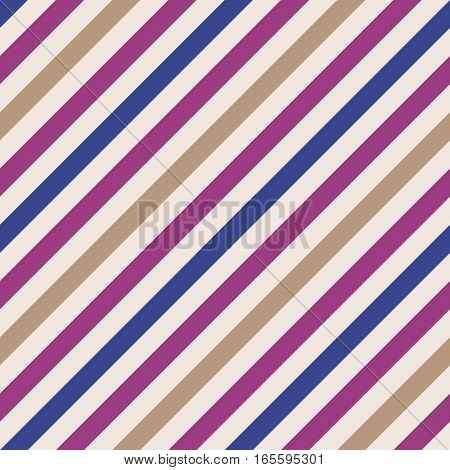 Seamless geometric pattern. Stripy texture for neck tie. Diagonal contrast strip background. Magenta, blue, cream, light orange colors. Vector