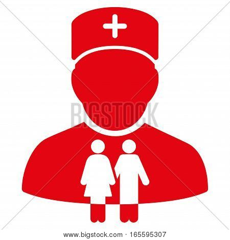 Family Doctor vector icon. Flat red symbol. Pictogram is isolated on a white background. Designed for web and software interfaces.