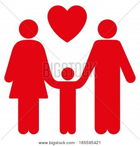 Family Love vector icon. Flat red symbol. Pictogram is isolated on a white background. Designed for web and software interfaces.