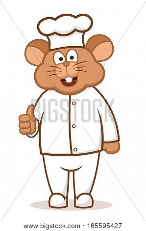 Mouse Chef Cartoon Character Isolated on White Background