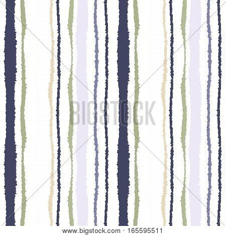Seamless strip pattern. Vertical lines with torn paper effect. Shred edge texture. Olive, gray, beige on white colored, background. Vector