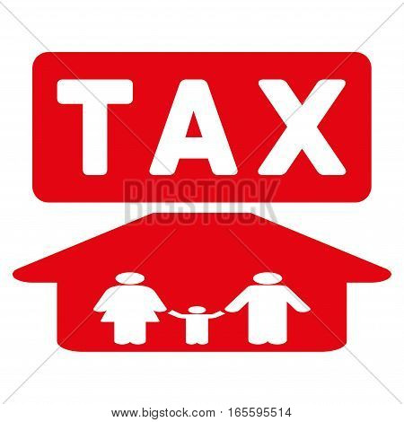 Family Tax Pressure vector icon. Flat red symbol. Pictogram is isolated on a white background. Designed for web and software interfaces.