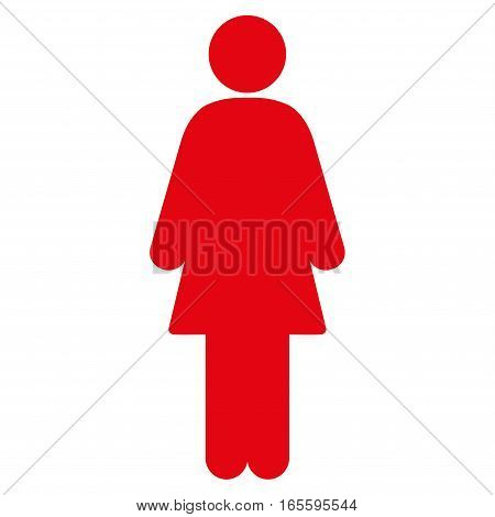 Female vector icon. Flat red symbol. Pictogram is isolated on a white background. Designed for web and software interfaces.