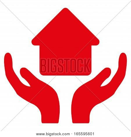 Home Care Hands vector icon. Flat red symbol. Pictogram is isolated on a white background. Designed for web and software interfaces.