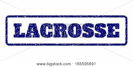Navy Blue rubber seal stamp with Lacrosse text. Vector message inside rounded rectangular shape. Grunge design and unclean texture for watermark labels. Horisontal sticker on a white background.