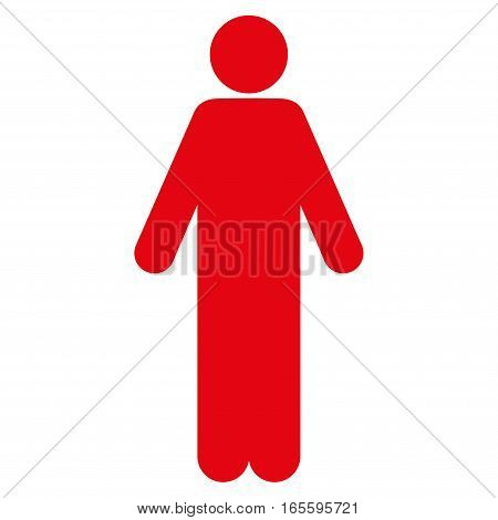 Male vector icon. Flat red symbol. Pictogram is isolated on a white background. Designed for web and software interfaces.