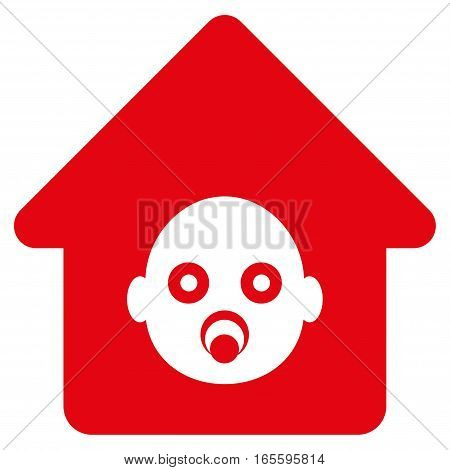 Nursery House vector icon. Flat red symbol. Pictogram is isolated on a white background. Designed for web and software interfaces.