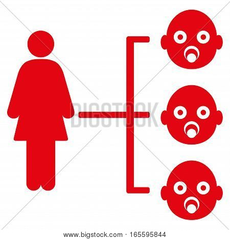 Nursery Kids Relations vector icon. Flat red symbol. Pictogram is isolated on a white background. Designed for web and software interfaces.
